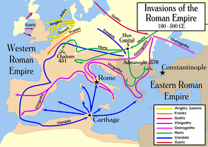 "Map of the ""barbarian"" invasions of ..."