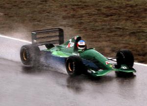Michael Schumacher testing the Jordan 191, pai...