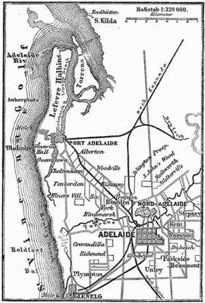 1888 Map of Adelaide, showing the gradual deve...