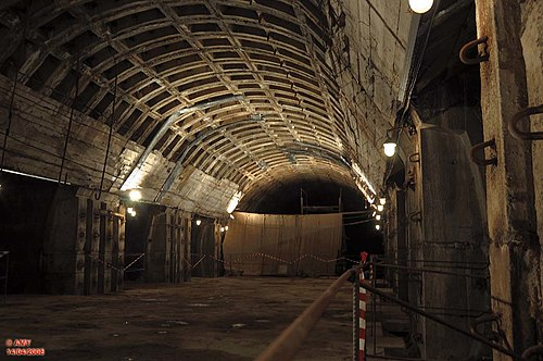 Interior of the ghost station Lvivska Brama on the Kiev Metro (photo by AMY 81-412, via Wikimedia Commons)