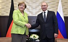 Merkel with Russian President Vladimir Putin in Sochi, Russia, May 2017