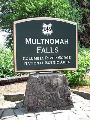 Sign for Multnomah Falls, Columbia River Gorge...