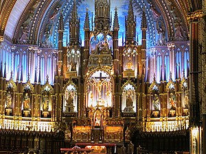 The altar at Notre Dame basilica in old Montreal