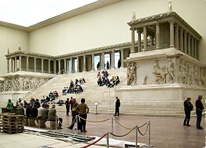 The front of the Pergamon Altar, as it is reconstructed in the Pergamon Museum in Berlin.