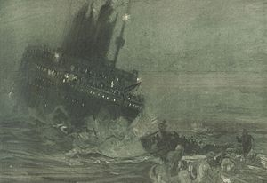 Sinking of the Titanic, drawn from wireless de...