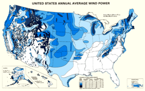 Map showing estimated wind resources for the U...
