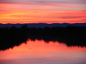 Twilight over the river Aude, Hérault, Langued...