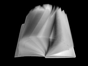 Book photograph with flipping pages.