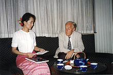 Suu Kyi meets with Edgardo Boeninger of the National Democratic Institute for International Affairs in 1995.