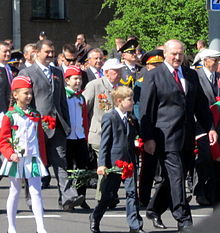 Alexander Lukashenko and his youngest son Nikolai during a Great Patriotic War victory parade in 2012.