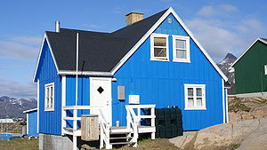 Prefab house in Sisimiut, Greenland.