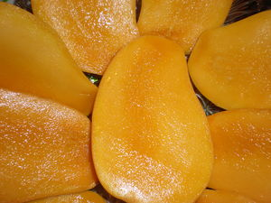 Sliced Mexican mangoes.