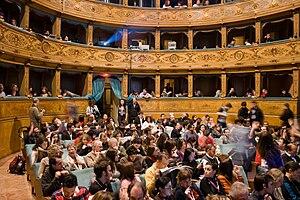 Teatro Pavone, Perugia. Conferenza durante il ...