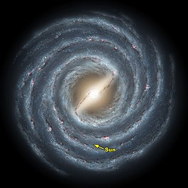 This is an artist's rendering showing the galaxy Milky Way and its central bar as it might appear if viewed from above. Our Sun is indicated here.