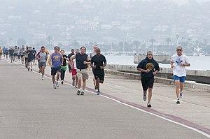 English: SAN DIEGO (Oct. 19, 2011) Runners app...