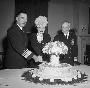 Admiral William H.P. Blandy and his wife cut a...