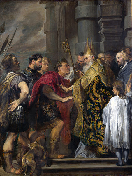 Saint Ambrose barring Theodosius I from Milan Cathedral. By Anthony van Dyck.