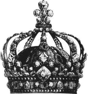 Engraving of the Crown of King Louis XV of France