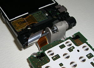 The inside of a hinge of a folding mobile phone.