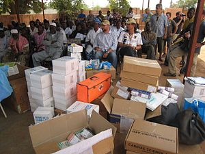 Medical donations delivered to a free clinic i...