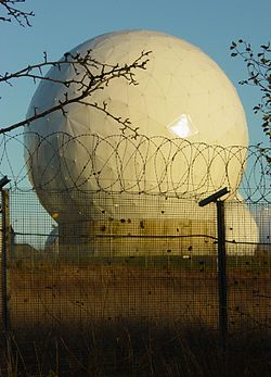 A radome at RAF Menwith Hill, a site with satellite downlink capabilities that some believe to be used by ECHELON.