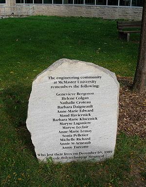 Montreal massacre memorial at McMaster University