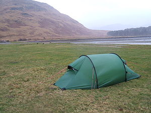 A tunnel tent made by Hilleberg