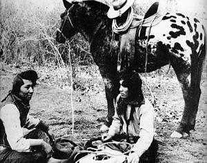 Nez Perce Indians with Appaloosa horse, around...