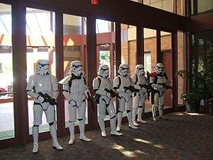No trespassing - stormtrooper in an action. Da...