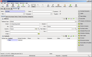 A screenshot of the GTK client of OpenERP 5.0....