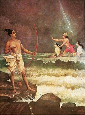 the Lord of ocean, pacifying Sri Rama, angered...