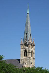English: Steeple of St. James Catholic Church ...