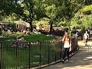 The central knoll at Tompkins Square Park in N...