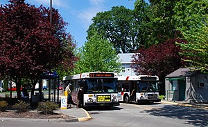 English: Two buses at the Forest Grove, Oregon...