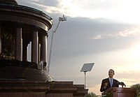 Barack Obama while giving speech in Berlin