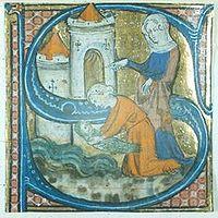 Una S maiuscola abitata, contenente la figura di Mosè salvato dalla figlia del faraone. Tratta dal breviario dell'Abbazia di Chertsey, XIV secolo