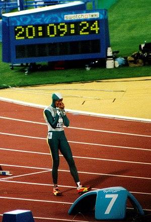 English: Cathy Freeman olympic final 400m Sydn...