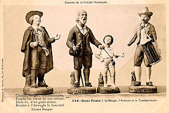 santons provenzali in un antica cartolina
