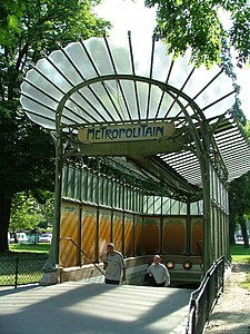 Designed in 1899, the Porte Dauphine station exhibits Hector Guimard's only surviving enclosed edicule of the Paris Métro.