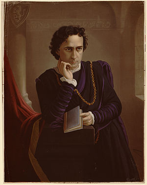 Edwin Booth as Hamlet. Color lithograph.