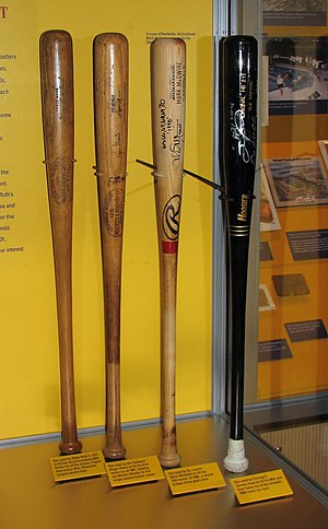 Professional baseball bats are typically made ...