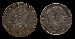 English: George III sixpence coins, 1787 and 1818