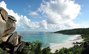 The spectacular beach of Grand Anse on the isl...