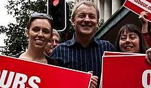 Ardern, with Phil Goff and Carol Beaumont, at an anti-mining march on 1 May 2010