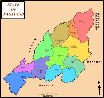 State of Nagaland, India with districts and th...