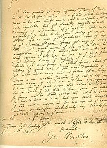 """878a18f04 فاكس من رسالة 1682 من إسحاق نيوتن إلى الدكتور ويليام بريجز ، معلقاً على  بريغز """"نظرية جديدة للرؤيا"""""""