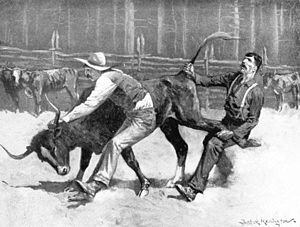 Remington Cowboys wrestling a bull