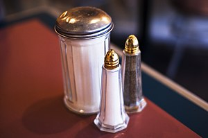 Salt, sugar and pepper shakers.