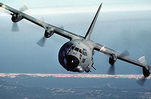English: An AC-130A Hercules gunship aircraft ...