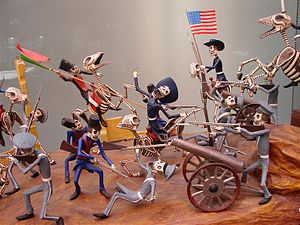 Scene from the Mexican American War with skele...